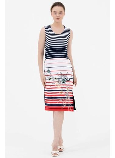 Sementa Kalın Askılı Marine Desenli  Elbise - Lacivert Lacivert
